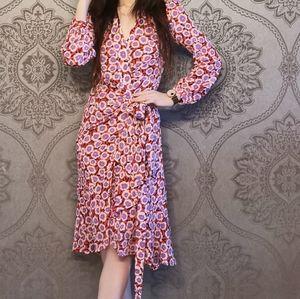 DVF Carla Two Silk Crepe De Chine Wrap Dress